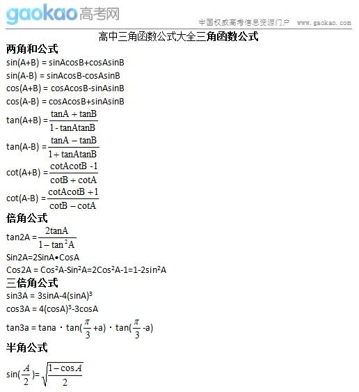 高考必备:2014高考数学知识点三角函数公式大