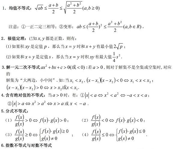 辽宁高考数学知识点总结:理科数学不等式知识