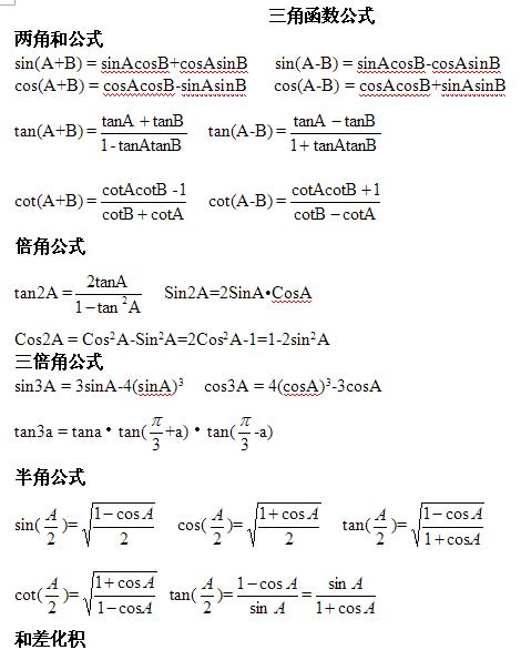 湖南高考数学知识点:三角函数公式图片