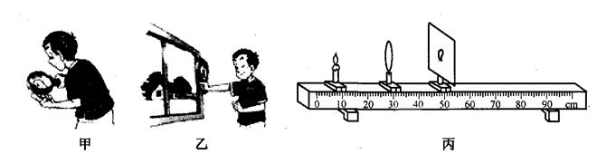 """中考物理凸透镜成像压轴题解析 在探究凸透镜成像的大小与哪些因素有关的实验中: (1)吴洋同学通过物理知识的学习,知道放大镜就是凸透镜.在活动课中,他用放大镜观察自己的手指,如图甲所示,看到手指_______的像;再用放大镜观察远处的房屋,如图乙所示,看到房屋_______的像;(选填""""放大""""、""""等大""""或""""缩小"""")  (2)他猜想:凸透镜成像的大小可能与蜡烛到透镜的距离有关."""