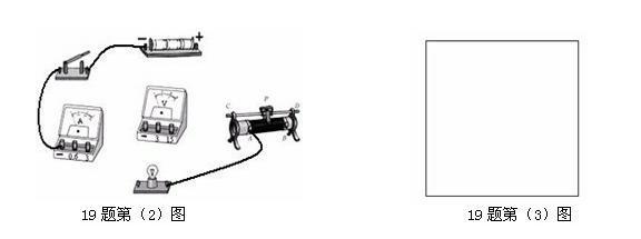 """2014年知识点同步物理电学 19.在""""测定小灯泡电功率""""的实验中,灯泡的额定电压为2.5V,灯丝的电阻约为8Ω (1)在连接电路时,开关应处于________________状态。 (2)请用笔画线代替导线,把图中的电路元件连接成实验电路。(连线不得交叉)(2分) (3)请在方框内画出该电路的电路图。(2分)  (4)闭合开关前,应将滑动变阻器的滑片滑到 端(请选""""A""""或""""B"""");实验中滑动变阻器的作用是 (2分)。 ("""