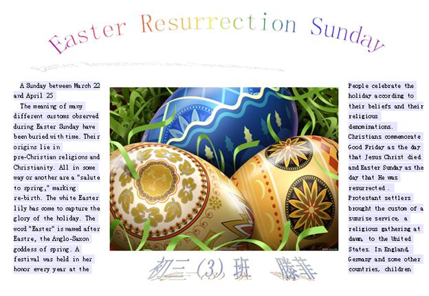 关于复活节英语手抄报