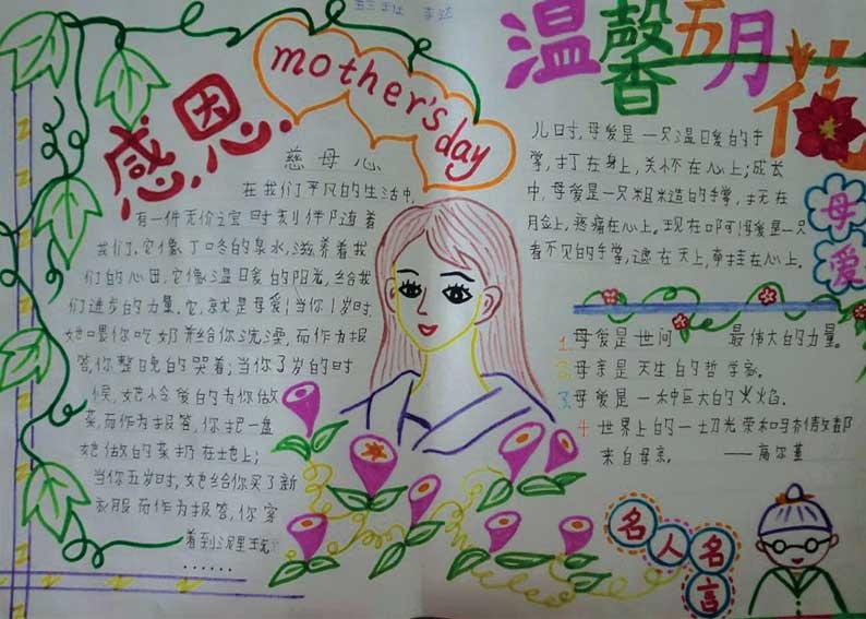 关于母亲节的手抄报:温馨五月花