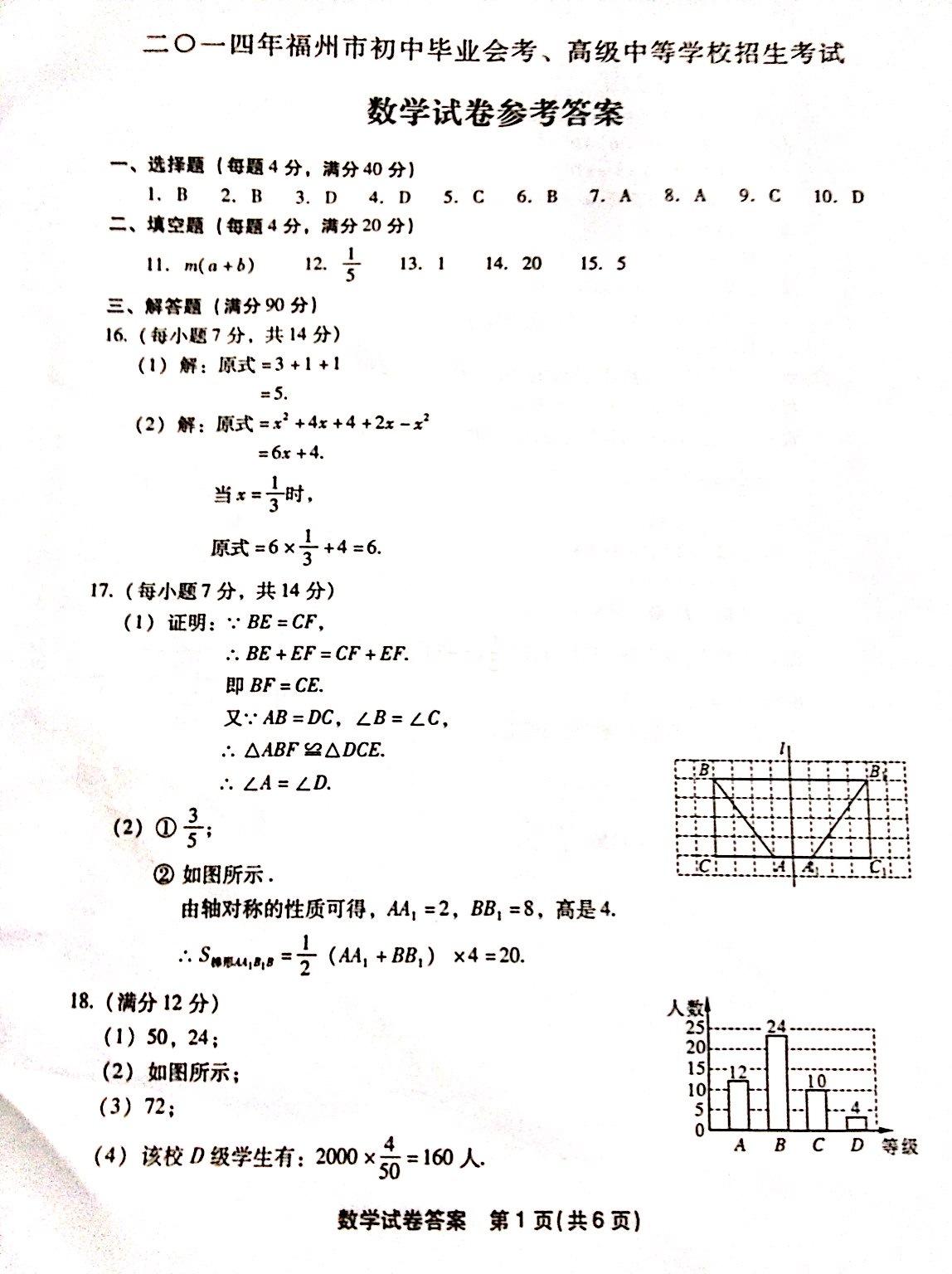 2014福州中考数学试题答案发布
