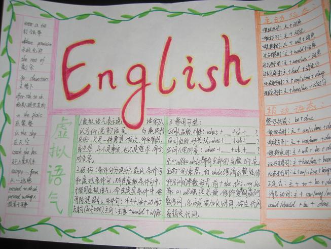 小学三年级暑假英语手抄报