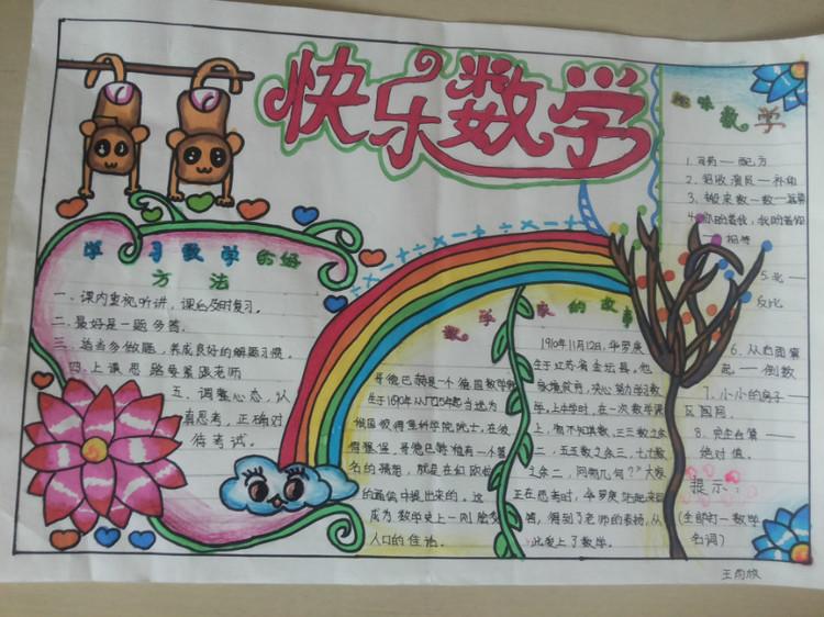 五年级暑假数学手抄报图片:快乐数学
