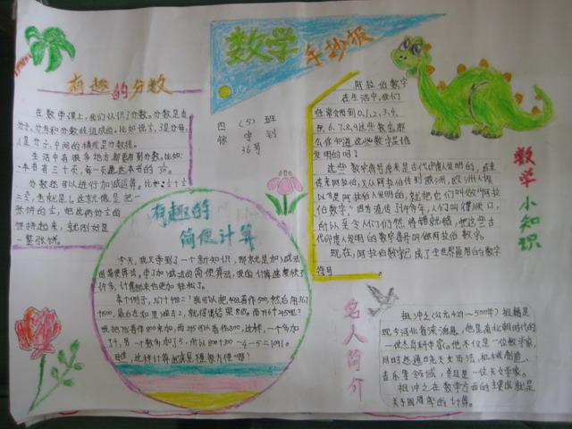 小学五年级数学手抄报图片