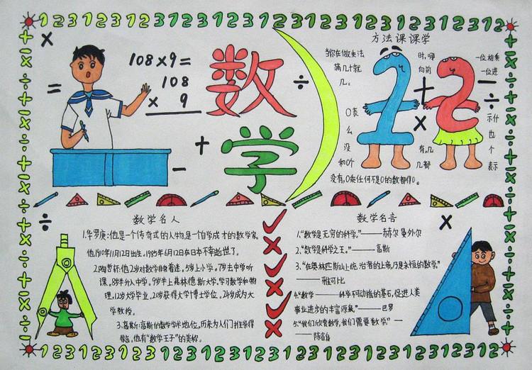 2014暑假三年级数学手抄报