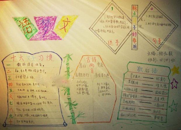 小学四年级暑假语文手抄报图片