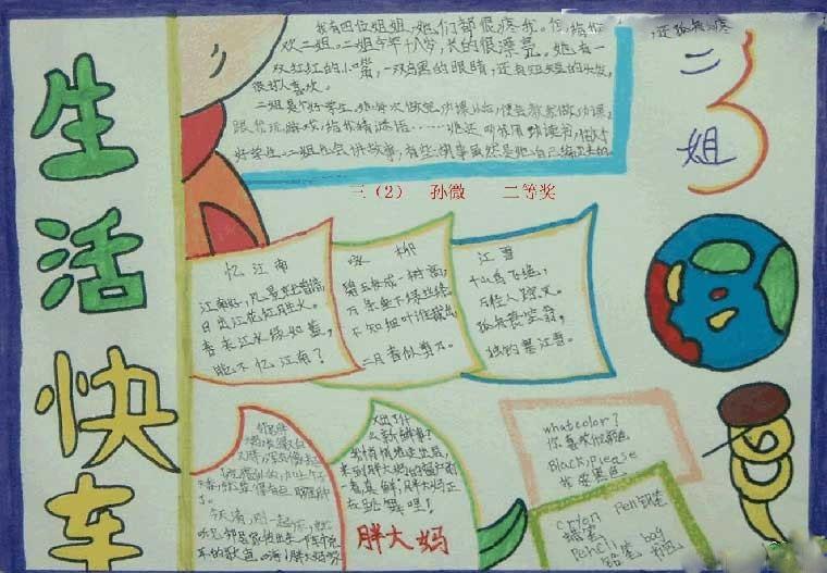 小学三年级暑假生活手抄报:生活快车