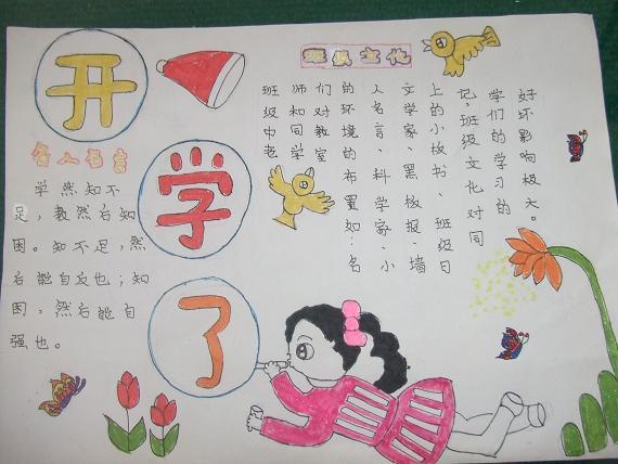 最新2014小学生快开学了手抄报设计