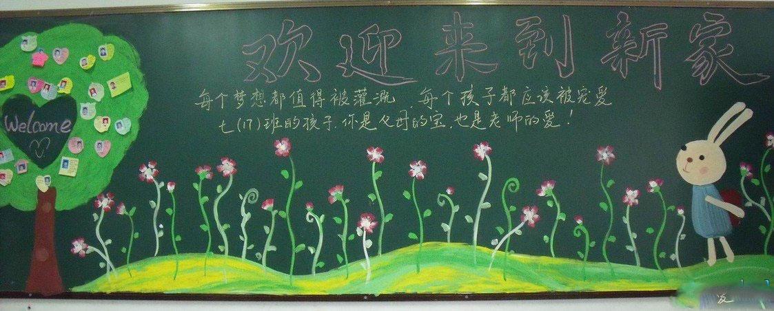 儿童开学了黑板报图片:欢迎新同学