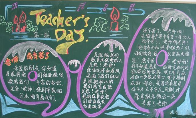 小学五年级教师节黑板报设计图-主题 通师一附五年级教师节黑板报展示