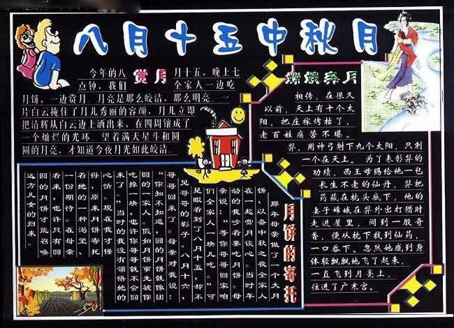 四年级小学生中秋节黑板报设计