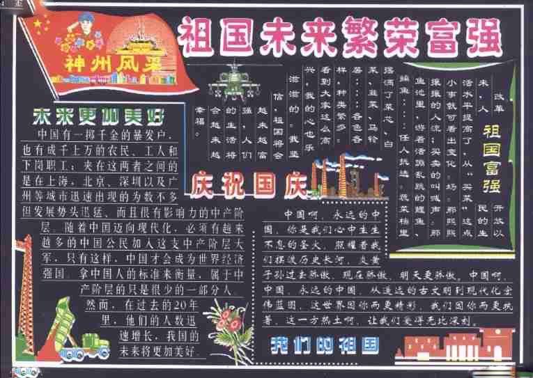 五年级小学生国庆节黑板报图片