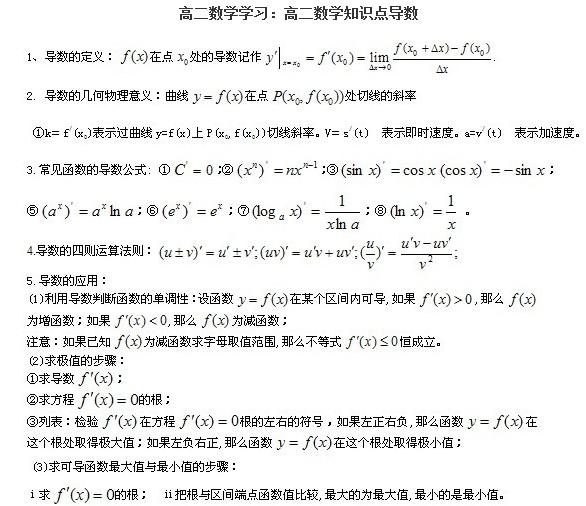 14年高二必修数学知识:导数