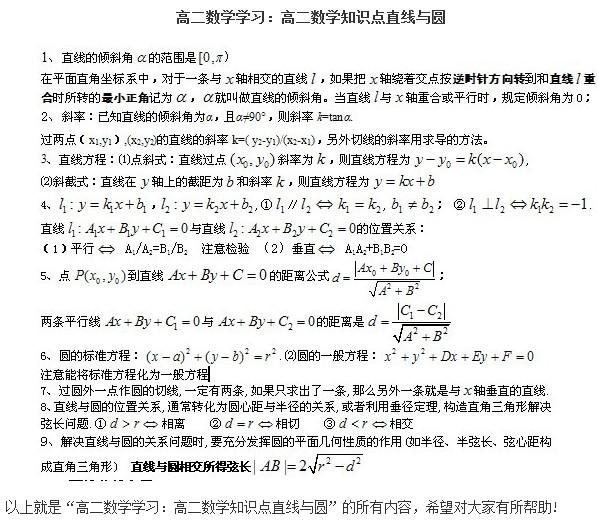 14高二必修数学知识点:圆锥曲线方程