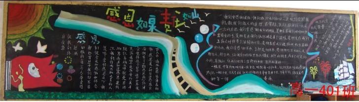 小学感恩节黑板报设计2014