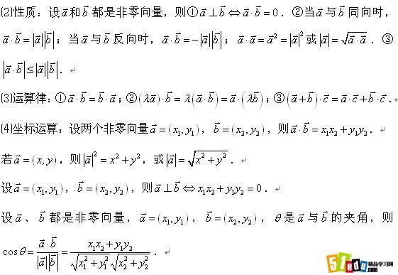 高中数学必修4知识点总结:第二章