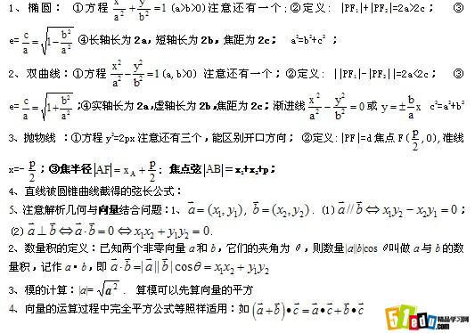 二数学知识点结圆锥曲线方程