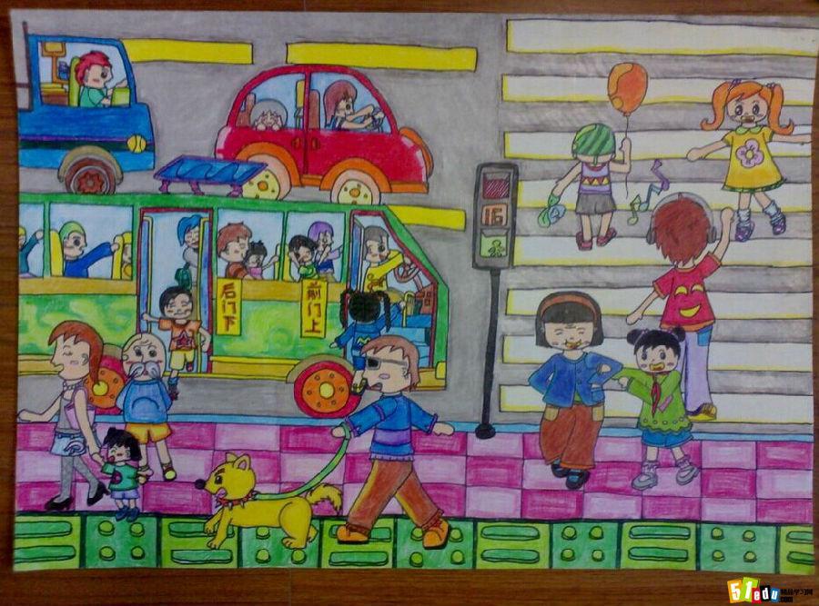 小学生交通安全绘画图片