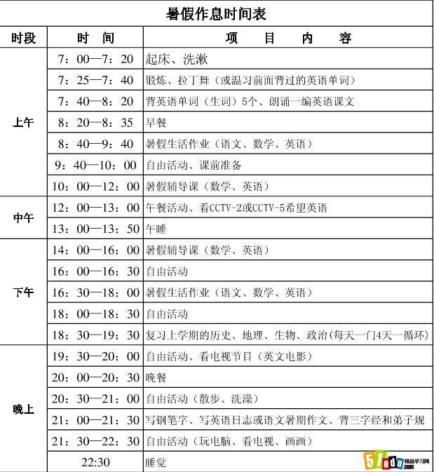 2014一年级暑假作息时间表_小学暑假计划_精品学习网