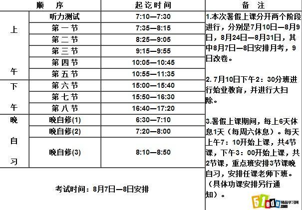 最新高三暑期上课作息时间表