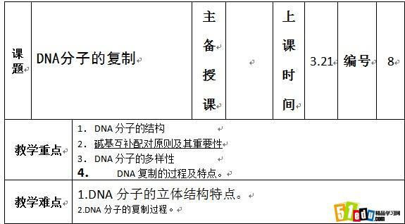 高二生物dna分子的复制教案1