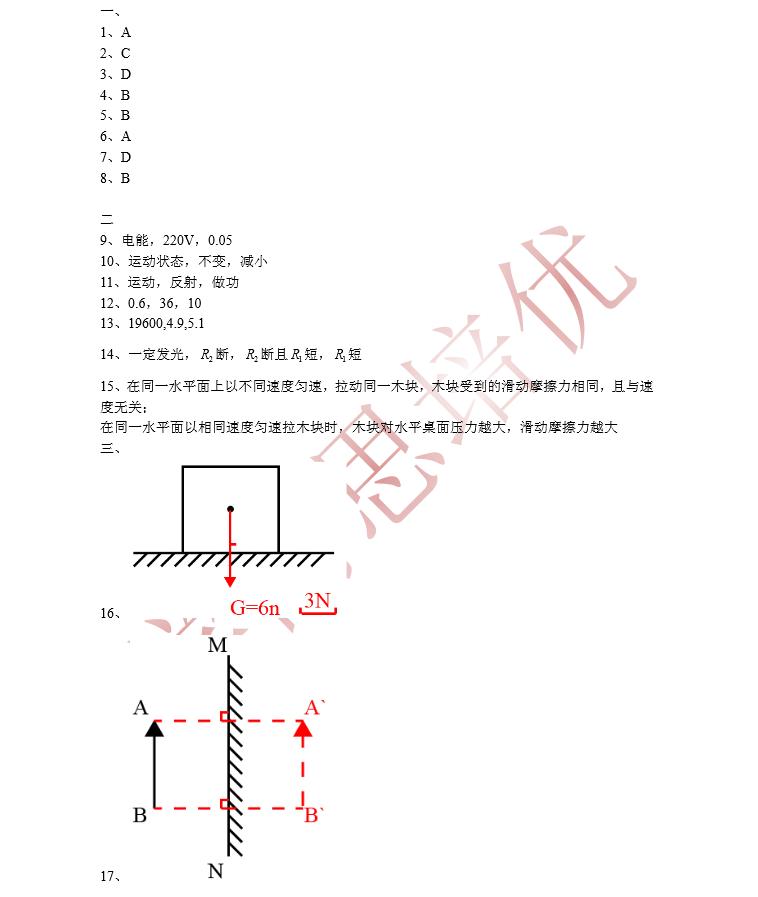 上海2015中考物理试卷答案(图片版)