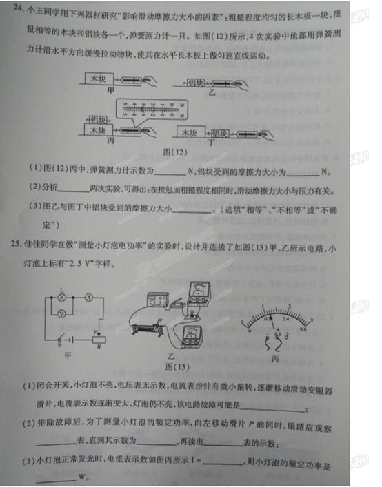 2015年四川广安中考物理试题(图片完整版)