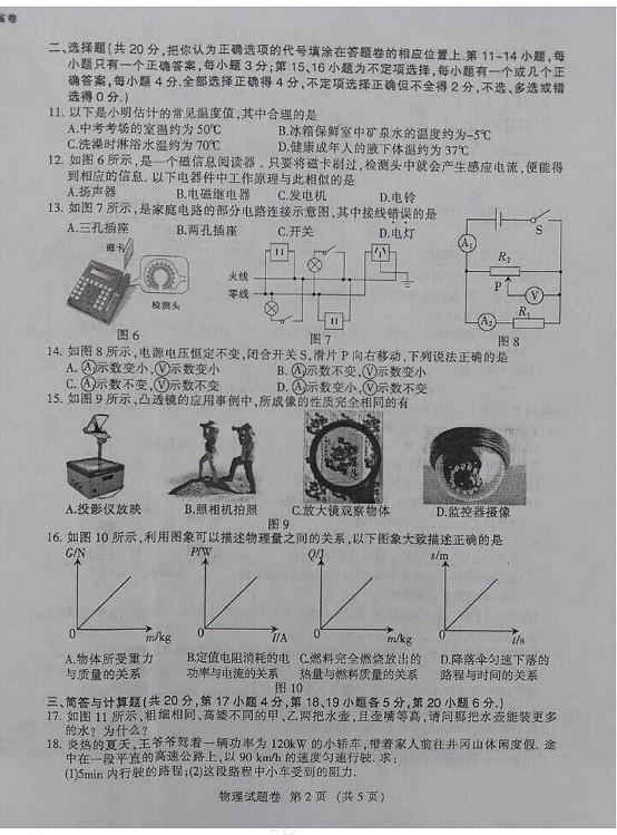 江西2015中考物理试题(图片完整版)