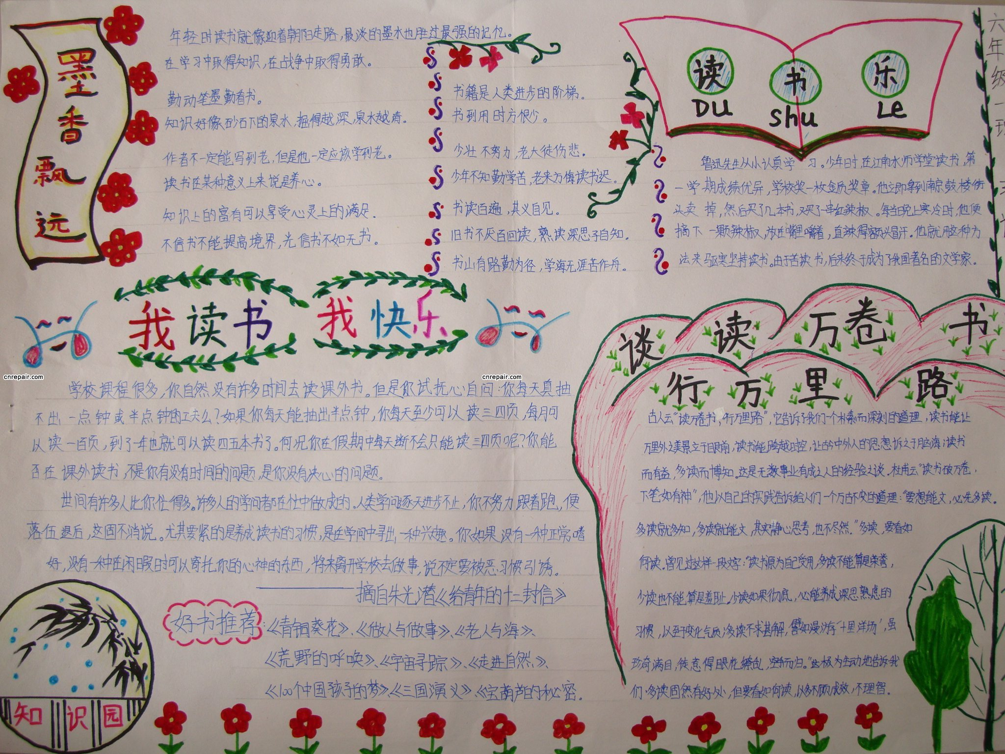 2015小学暑假读书手抄报图片