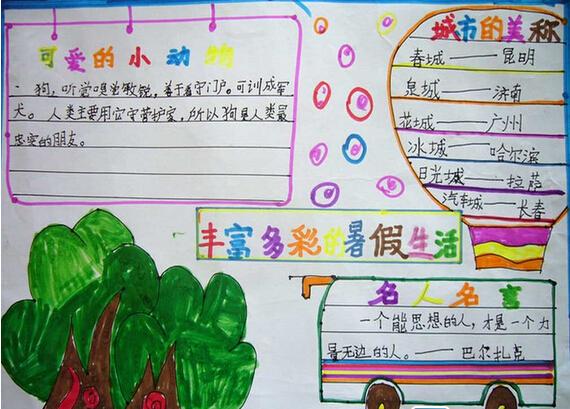 有关六年级快乐暑假的手抄报:丰富多彩的暑假