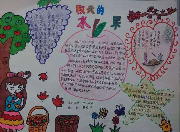 丰收的秋天手抄报图片:秋天的水果