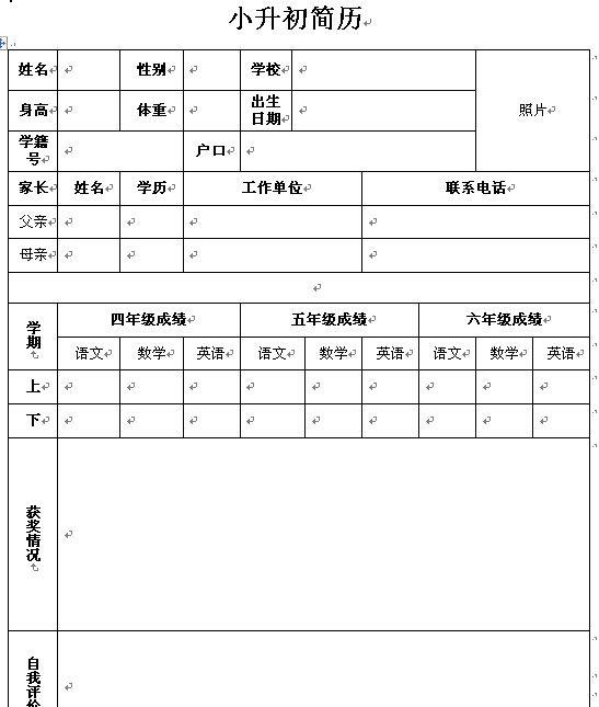 经典的小升初个人简历制作模板(表格形式)