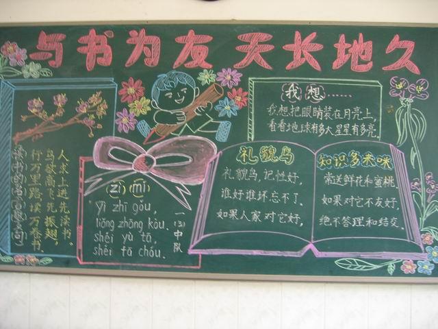 板报书设计书黑板报-关于书的黑板报图片 与书为友