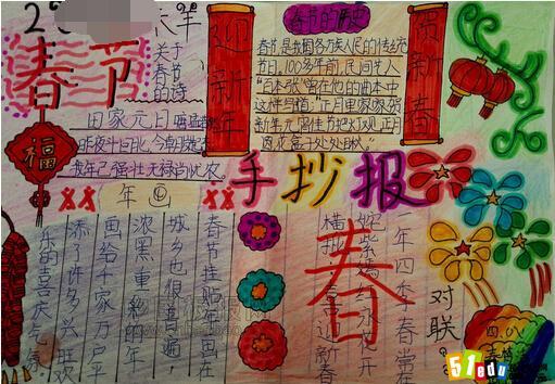 小学生春节手抄报素材:迎新年,贺新春