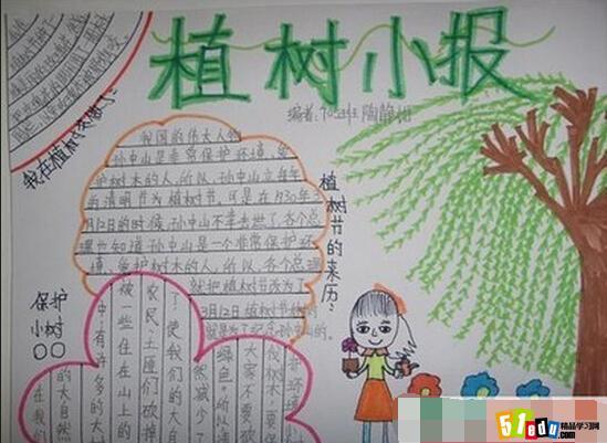 3月12日植树节手抄报素材:植树小报