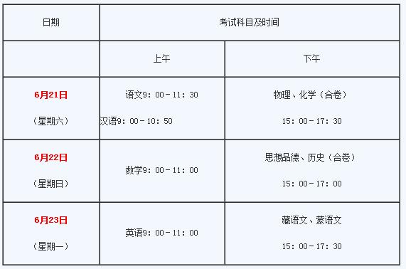 2016海南市中考时间表(含科目详情)