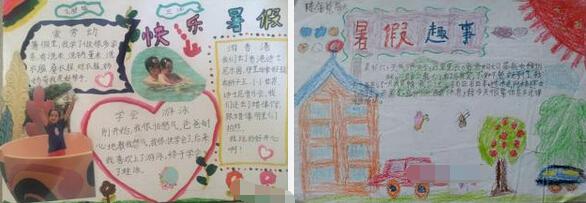 快乐暑假生活   ◆暑假语文手抄报图片:快乐小报  ◆一年级暑假手抄报