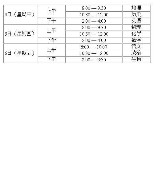 2017年北京春季高中会考时间:2017年1月4日—6日