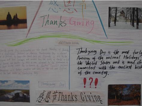 今天感恩节哦 小学生感恩节英语手抄报大全图片