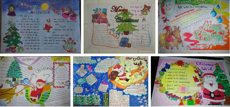 小学生圣诞节英语手抄报作品展,比比谁的更具创意