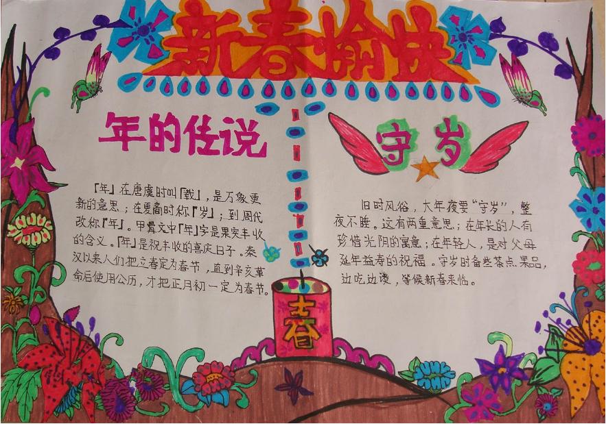 有关春节手抄报资料:新春愉快