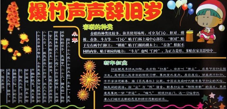 2016春節黑板報內容素材:爆竹聲聲辭舊歲