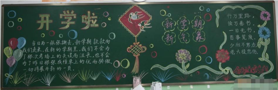 有关开学的黑板报内容:开学啦