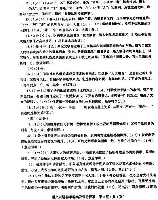 2016临沂语文中考试题 图片版