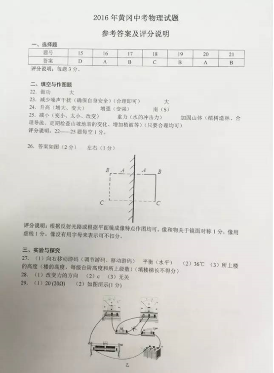 2016黄冈物理中考试题