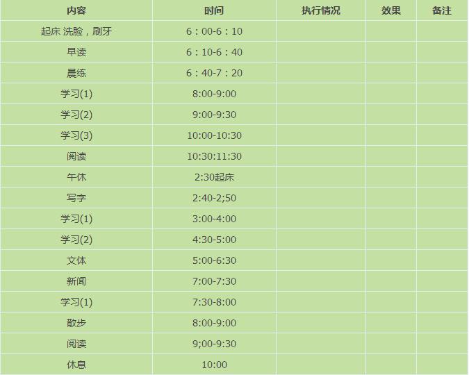 2016年初中生暑假生活计划表