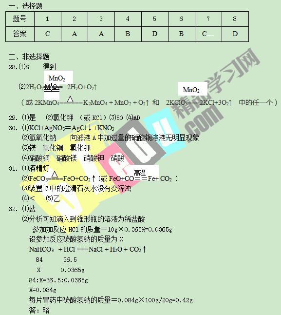 武汉2016年化学中考试题答案
